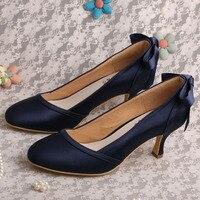 Wedopus Kitten Heel Evening Wedding Shoes Women Dark Blue Satin Closed Toe Pumps