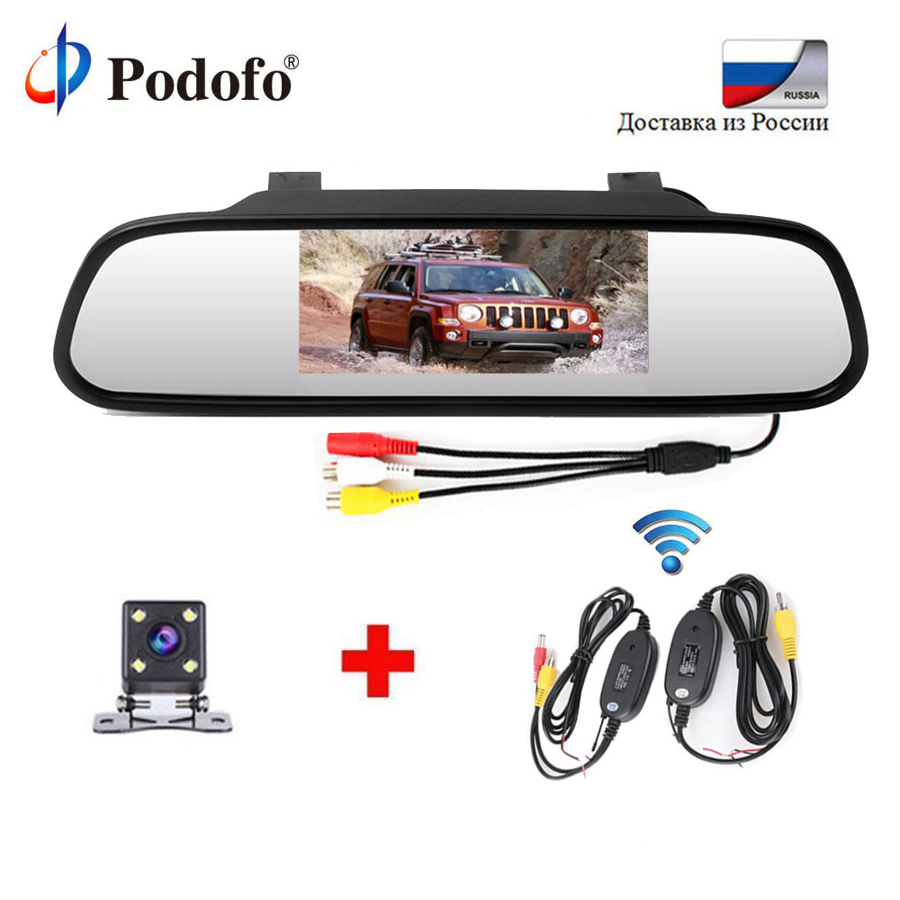 Podofo New 4 3 Digital LCD Car Rear View Mirror Wireless Parking Assistance System With Waterproof