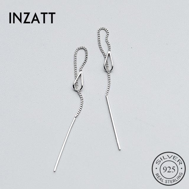 INZATT Real 925 Sterling Silver Elegant Chain Tassel Stick Bar Dangle Drop Earrings Personality Fine Jewelry For Women Party
