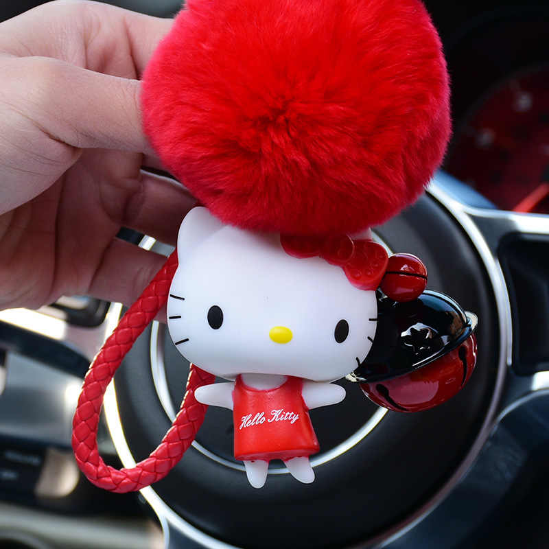 Bonito 8 cm Fluffy Rabbit Fur Pom Pom Keychain PVC Olá Kitty Sino Corda de Couro Chaveiro Llavero Chaveiro Pompom charme Bolsa Pingente