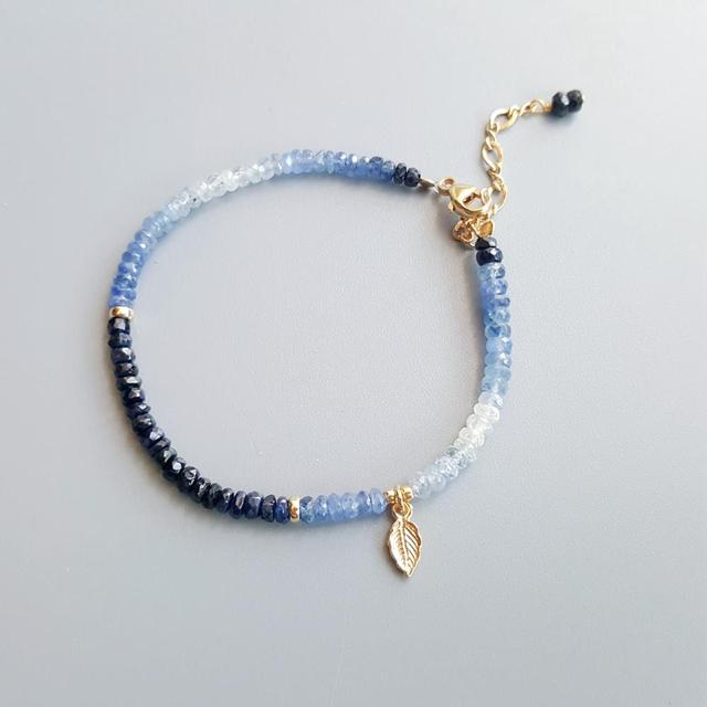 Blue Sapphire Bracelet with Gold Plated 925 Silver Leaf 3
