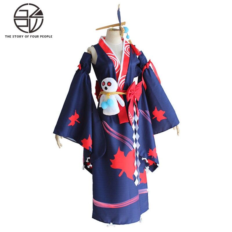 Японская девушка в кимоно платье для выступлений платье Инь и Ян карнавальный костюм полный Хэллоуин костюмы S-XL