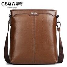 2016 GSQ Fashion Genuine Leather Men Bag Hot Men's Shoulder Bags Leather Business Briefcase Crossbody Messenger Bag For Men