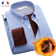 LANGMENG Winter Thick Warm Shirt Men Long Sleeve Brand Casual Mens Solid Business Dress Chemise Homme plus size 5XL