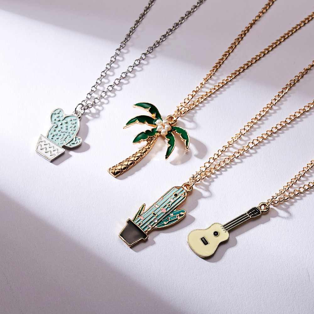 Rinhoo 1PC Cute Gold Zinc Alloy Green And Yellow Cactus/Coconut/Tree/Guitar Pendant Necklace For Women's Men's Gift