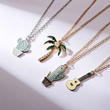 Rinhoo 1PC Cute Gold Zinc Alloy Green And Yellow Cactus/Coconut/Tree/Guitar Pendant Necklace For Women's Men's Gift(China)