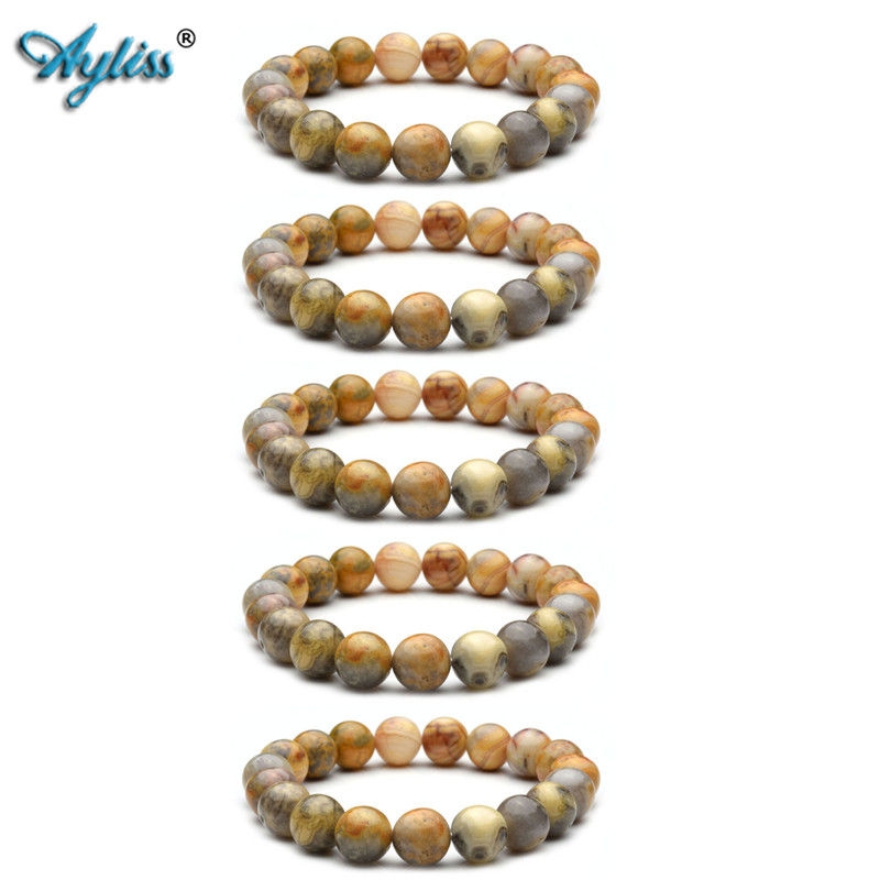 Ayliss 2018 New Wholesale 10MM Natural Gem Stone Healing Power Round Elastic Stretch Bracelet Jewelry 5pcs/10pcs