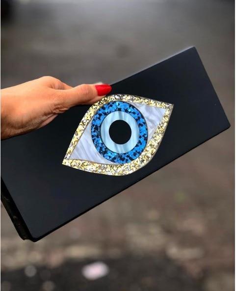 Solid Black Patchwork Glitter Evil Eye  Acrylic PVC Plastic Box Clutches Summer Beach Travel Evening Handbags Women Acrylic Bags