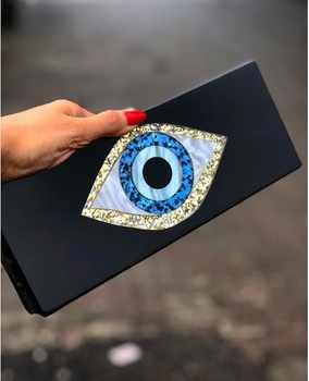 Solid Black Patchwork Glitter Evil Eye  Acrylic PVC Plastic Box Clutches Summer Beach Travel Evening Handbags Women Acrylic Bags - DISCOUNT ITEM  25% OFF All Category