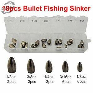 JSM 18 шт. вольфрамовые пули, грузила для рыбалки в Техасском стиле, пластиковые грузики, литые банки, грузила, набор с коробкой, рыболовные сна...