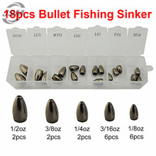 JSM 18pcs Tungsten Bullet Fishing Sinker For Texas Rig Plastic Worm Weights Casting Bank Sinkers Set With Box Fishing Tackle