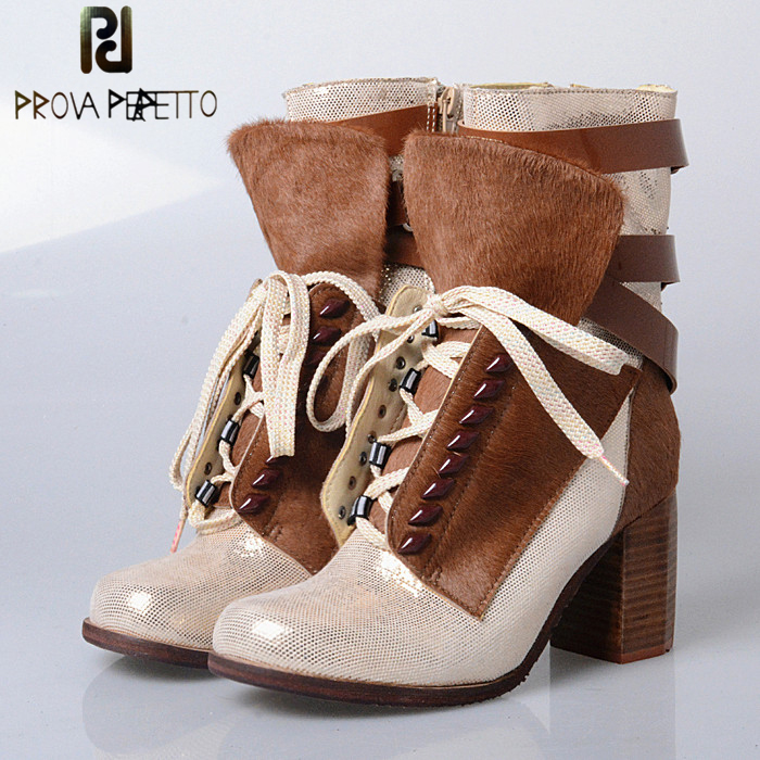 Prova Perfetto Square High Heel Women Ankle Boots Belt Buckle Lace Up Gladiator Bota Horsehair Real Leather Cool Martin Boots