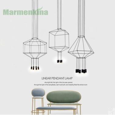 Post-modern creative living room pendant lamp Nordic minimalist personalized restaurant hotel villas geometric line lights.