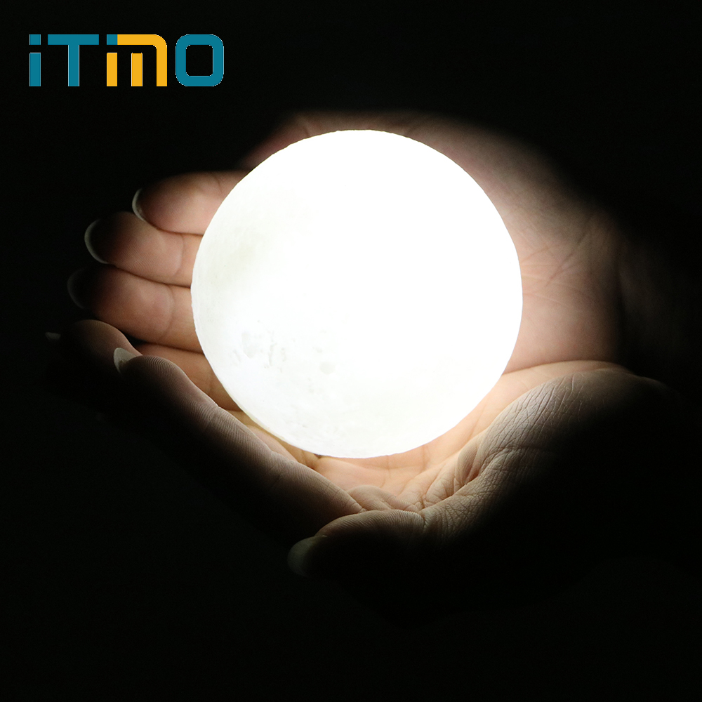 ITimo Moon Lamp Rechargeable Home Decor With Wood Holder Touch Switch USB LED Night Light 8CM 3D Moon Light
