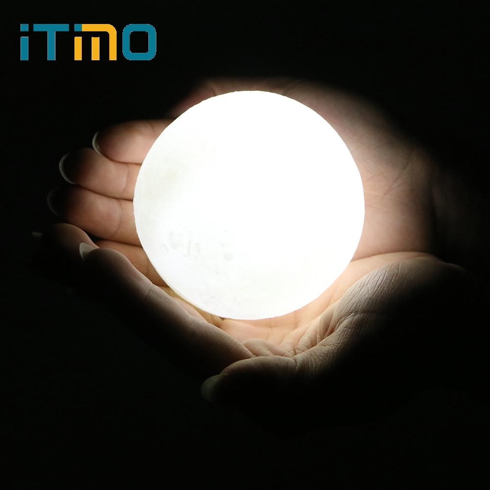 Itimo Луна лампы Перезаряжаемые Домашний декор с деревянным держателем сенсорный выключатель USB LED ночник 8 см 3D лунный свет ...