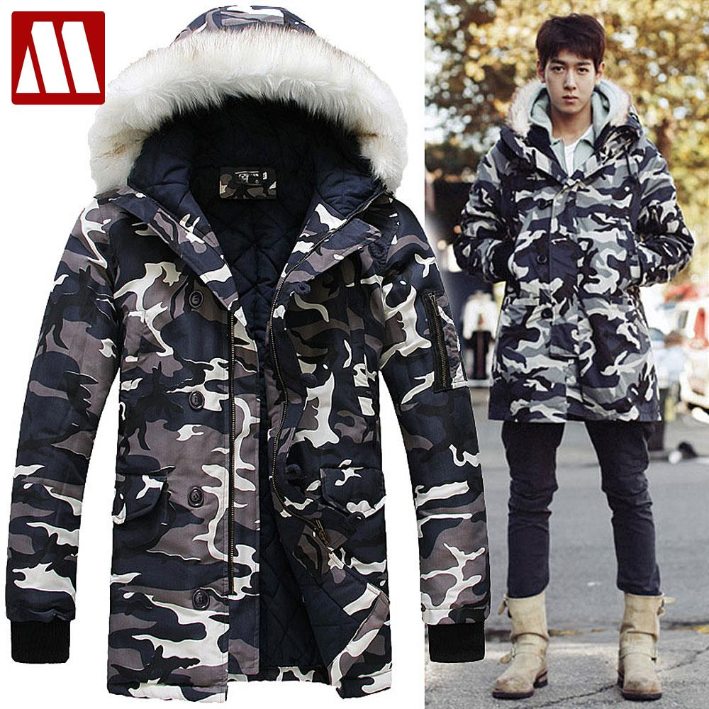 Mens jacket lined with fur - 2016 New Arrival Brand Camouflage Men S Fur Lined Winter Coats Army Jacket Fashion Casual Parka Long