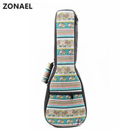 ZONAEL 21 23 24 26 Inch Ukulele Padded Cotton Folk Portable Bass Guitar Gig Bag Case
