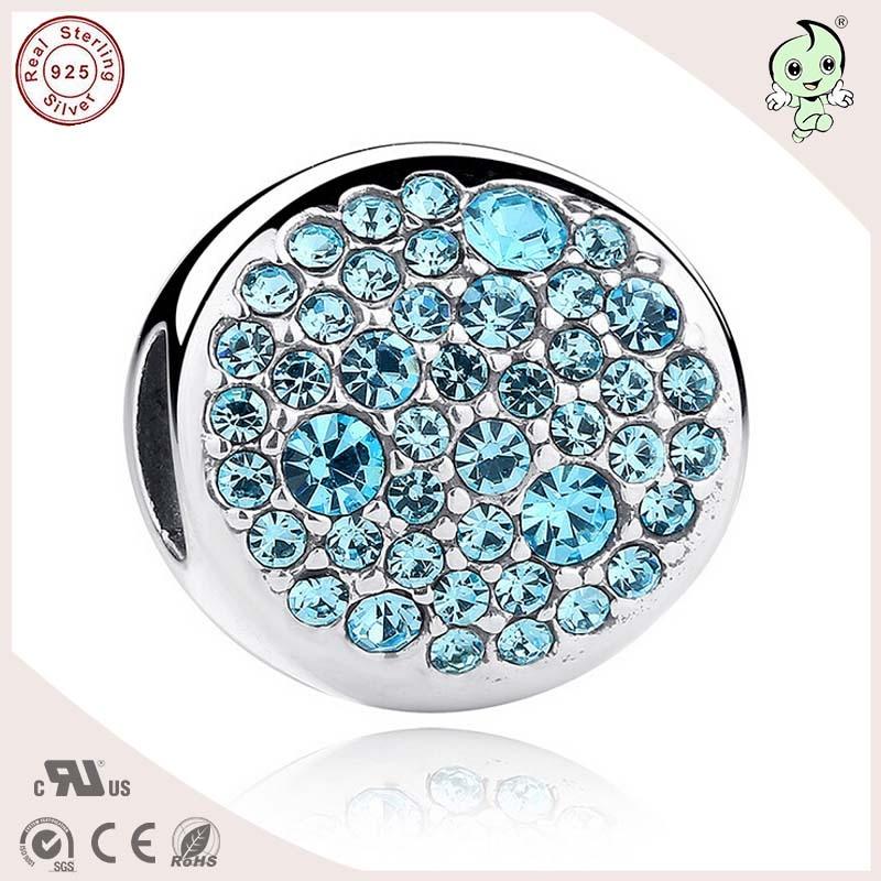 Новое поступление синий камень укладки 925 чистого серебра сплюснутый круглый шарик очарование для европейской цепи или Цепочки и ожерелья