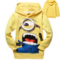 Carton minions Clothes Boys Clothes Girls Kids Hoodies Spring Autumn Hoody Top Tee Children Clothing Hoodie 6pcs/lot Wholesale