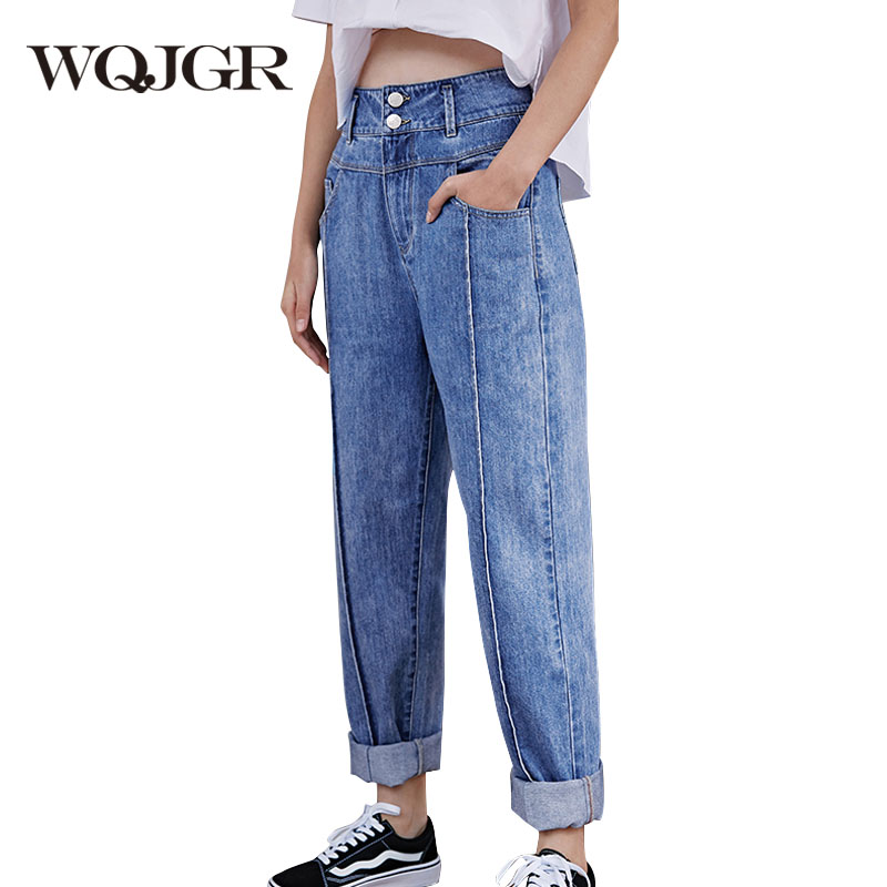 WQJGR high waist jeans women Blue nine harem pants 100% cotton quality mom