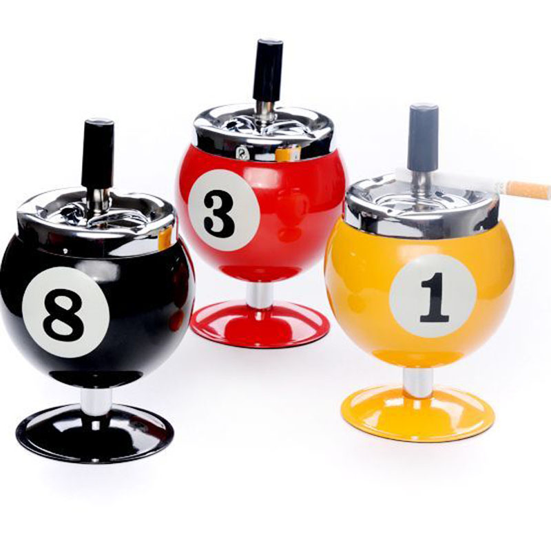 Cigarette Ashtray Metal Billiards Model Creative Personality Spin Billiards Ashtray With Cover For Bar KTV Home Decor-in Ashtrays from Home & Garden