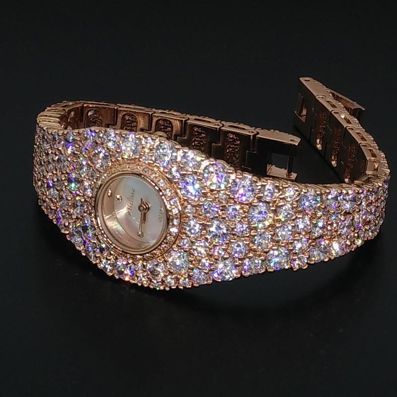 Saatler'ten Kadın Saatleri'de Abartılı tam kristaller takı saat kadınlar için zarif parti elbise İzle bileklik bilezik kol saati kuvars Montre Femme F8016 title=