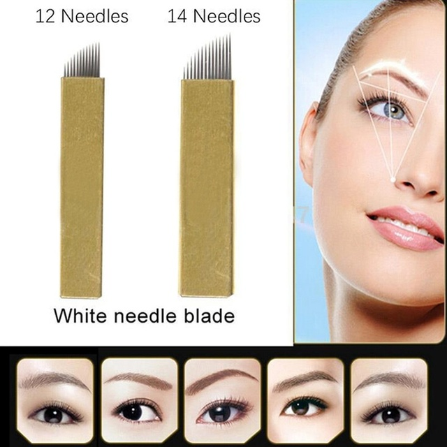 50PCS 12/14 Pin Permanent Makeup Eyebrow Tatoo Blade Microblading Needles For 3D Embroidery Manual Tattoo Pen Machine HJL
