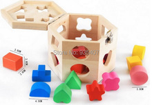 15-hole intelligence box box -dimensional shape matching building blocks wooden toys children's education 13 holes wooden toys intelligence box for shape sorter cognitive and matching building sorority eductional toys for children