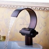 Classic Antique Copper Double handle Crane Oil Rubbed Bronze Waterfall Water Faucet Torneira Banheiro Bathroom Basin Mixer Tap