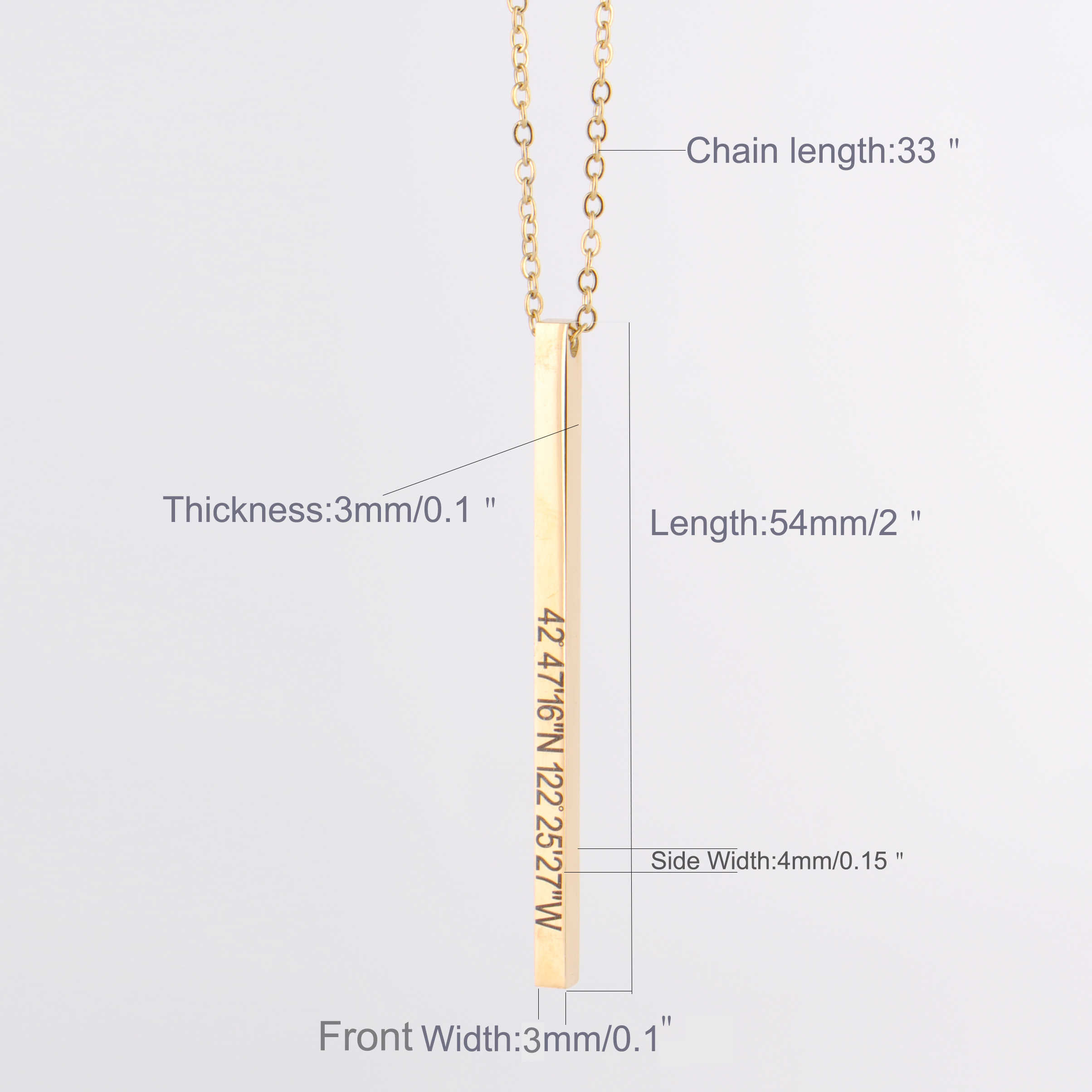 8f4330029 ... Personalized Name Inspirational Bar Necklace Engraved Rose Gold Custom  for Women Men Jewelry Bridesmaid Maxi Long