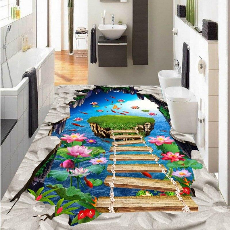 Бесплатная доставка фото Лотос остров для ванной дорожки 3D Пол на заказ гостиная утолщенной 3D стереоскопического обои полы
