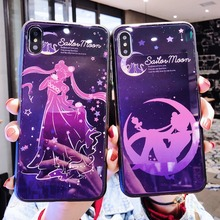 Cute Cartoon Sailor Moon Tempered Glass Case For iPhone XS XR MAX X 6 6S 7 8 Plus