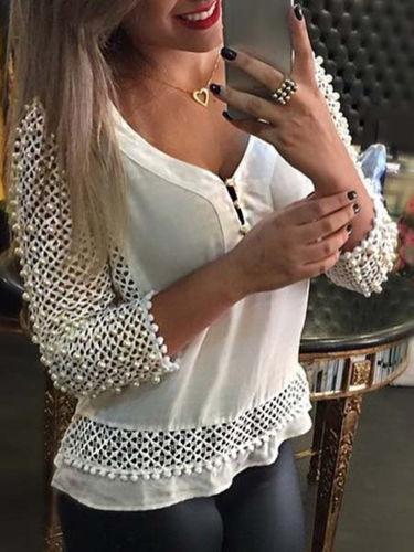 2016 New Brand Women Sexy Fashion Loose Chiffon V-Neck Tops Long Sleeve Shirt Casual Blouse