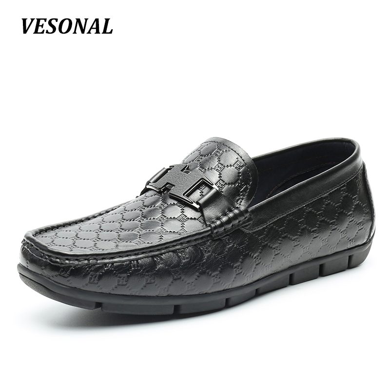 VESONAL Low Top 100% Luxury Genuine Leather Loafers Men Shoes Driving Fashion Classic Mens Shoes Casual Boat Designer SD6133 vesonal 2017 quality mocassin male brand genuine leather casual shoes men loafers breathable ons soft walking boat man footwear