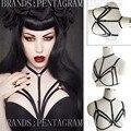 2016 Hot New Goth Harness Crop Top Inspired Harness Bra Black Elasticity Bondage Body Cage Frame Fetish Goth Lingerie Rave Wear