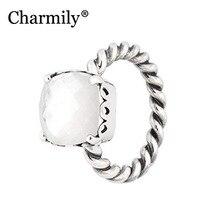 Charmily مجوهرات حقيقية 100% 925 فضة أنيقة صدق حلقة الأصلي الأم من اللؤلؤ خواتم النساء مجوهرات هدية