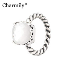 Charmily Jewelry Genuine 100% 925 Sterling Silver Elegant Sincerity Ring Original Mother of Pearl Rings Women Jewelry Gift