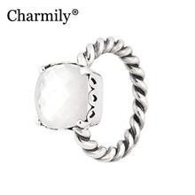 Charmily Sieraden Echt 100% 925 Sterling Zilver Elegante Oprechtheid Ring Originele Moeder Van parel Ringen Vrouwen Sieraden Gift