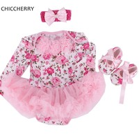 Floral Print Baby Girl Lace Tutu Set Cute Infant Baby Romper Dress Bow Headband Cribs Shoes