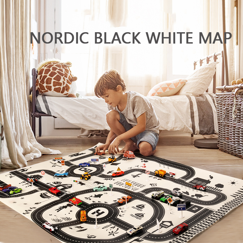 100X130CM Toy Car Mat Map Kids Play Area Rug Mat City Road Buildings Parking Map Game Scene Map Collapsible For Kits Toys Gift
