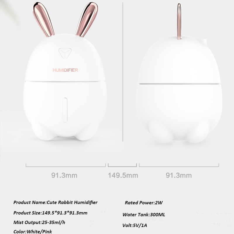 300ML Air Humidifier Cute Rabbit Ultra Silent USB Aroma Essential Oil Diffuser Office Car Humidificador Air Purifier Mist Maker in Humidifiers from Home Appliances