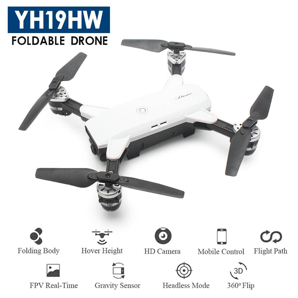 YH-19HW Faltbare Drone mini RC Selfie Drohne mit Kamera 720 p RC Drohnen mit Kamera HD WiFi FPV Quadcopter Eders RC Hubschrauber