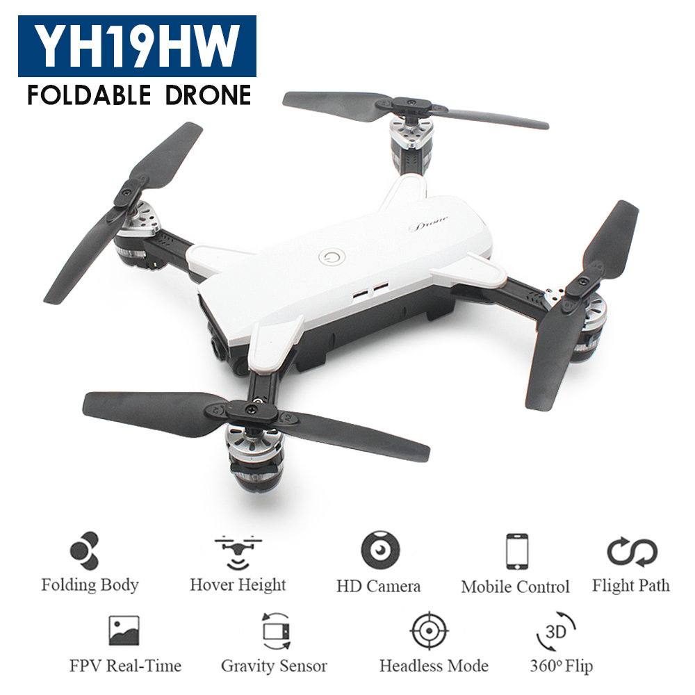 YH-19HW Foldable Drone mini RC Selfie Drone with Camera 720P RC Drones with Camera HD WiFi FPV Quadcopter Dron RC Helicopter