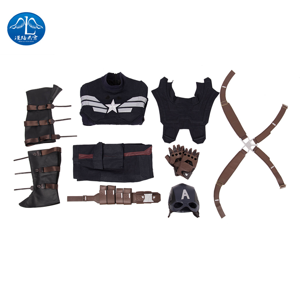 Captain America Cosplay Steve Rogers Outfit Halloween Costumes For Men Marvel Movie Avengers Endgame Faux Leather Custom Made in Movie TV costumes from Novelty Special Use