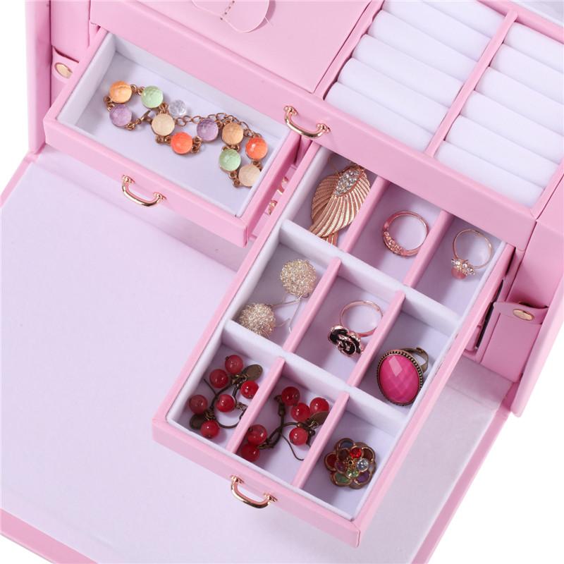 Fashion Storage Case Mirror Leather Velvet Organizer Lock