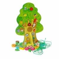 Nova marca DIY Colorido de Madeira Toy Animal Fruit Tree House Contas Amarrando Crianças Favor Do Presente de Aniversário Do Bebê Brinquedos Educativos