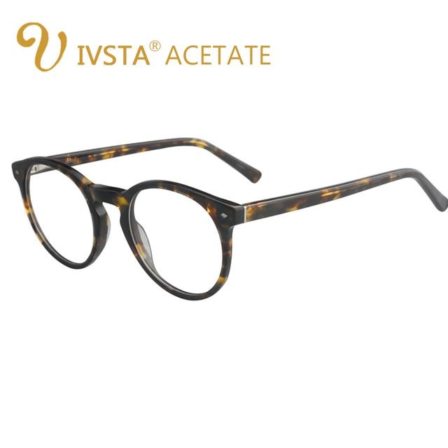 IVSTA Pure Acetate Frames Round Glasses Women Cat Eye Demi Tortoise ...