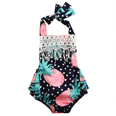 2017Spring Flower Newborn Baby Girls Lace Sleeveless Jumpsuit Bodysuit Onepiece Sunsuit Clothes
