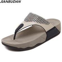 JIANBUDAN/женская летняя пляжная обувь на плоской подошве, Нескользящие удобные шлепанцы, шлепанцы на плоской подошве, украшенные стразами, Размеры 35-41