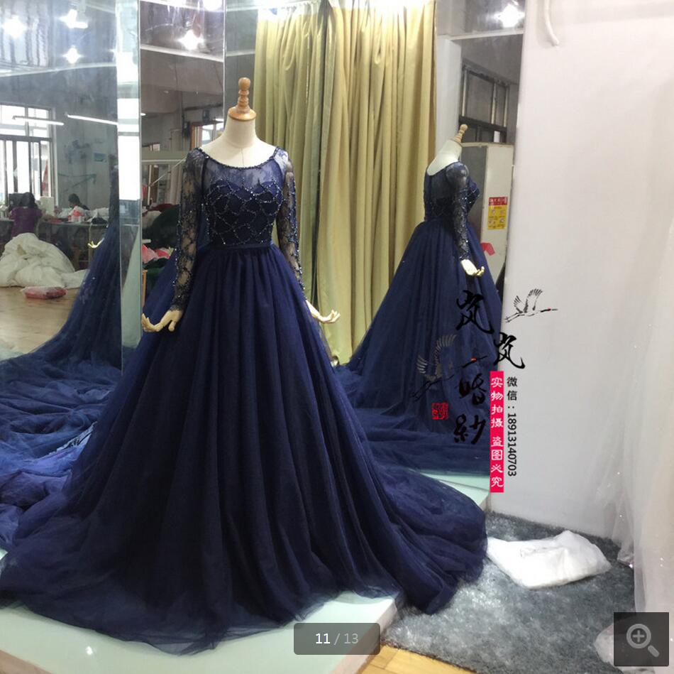 navy blue fashion ball gown 2016 long sleeve real picture wedding dress chapel train scoop neck stylish bridal gowns on sale
